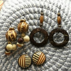 🍁 Vintage Bundle 3 pair wood Coconut Africa carve